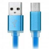 Type C Hızlı Şarj Data Kablosu Usb C Yassı Silikon Kopmayan 1 Mt Mavi