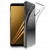 Samsung Galaxy A8 Plus 2018 Kılıf Kapak Şefaf İnce Kap + Kırılmaz Cam Ekran Koruyucu