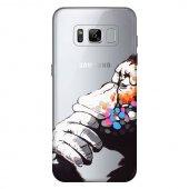 Samsung Galaxy S8 Kılıf Düşünen Maymun Baskılı Silikon Kap Kapak + Kırılmaz Cam Ekran Koruyucu