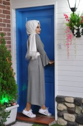 3982 Kol Volanlı Triko Elbise-2