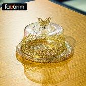 Glass Kek Fanus 21 Cm Şeritli