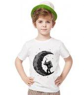 Tshirthane Astronot Moon Ay Tişört Çocuk Tshirt