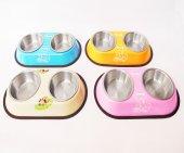 Kedi Köpek İkili Çelik Mama ve Su Kabı Kaydırmaz Taban HB1018-2