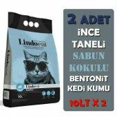 Lindo Cat İnce Taneli Sabun Kokulu Bentonit Topaklaşan Kedi Kumu 10 Lt X 2 Adet