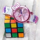 Pinkoli Kalp Desenli Beyaz Renk Deri Kordonlu Fiyonk Tasarım Kasa Çocuk Saati St 303352