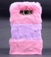 Samsung Galaxy J7 Kılıf Lopard Kulaklı Peluş Kapak-3