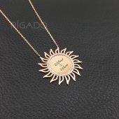 925 Ayar Gümüş Sevgiliye Hediye Zirkon Taşlı Güneş Kolye