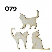 Ahşap Minyatür Kedi Set O 79