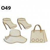 Ahşap Minyatür Şapka Çanta Ayakkabı Set O 49