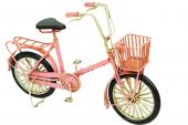 Dekoratif Metal Pembe Bisiklet Sepetli