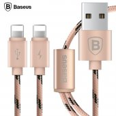 Baseus Portman Serisi 2si 1 Arada Çift Lightning Kablo 1,2m Rose Gold