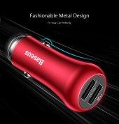 Baseus Gentry Serisi Çift U Hızlı Şarj Araç Şarj Cihazı Kırmızı