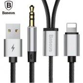 Baseus L33 Apple+3,5mm To 3,5mm Aux Audio Kablo Siyah