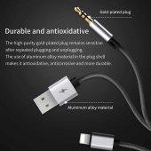 Baseus L34 Apple to 3,5mm Usb şarj Audio Kablo Gümüş/Siyah-3