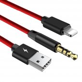 Baseus L34 Apple To 3,5mm Usb Şarj Audio Kablo Kırmızı