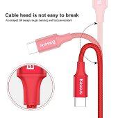 Baseus Rapid Serisi Type C 2 1 Kablo Micro+lightning 3a 1,2m Kırmızı