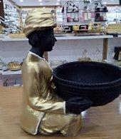Altın Dekoratif Hintli Zenci Sepetli Adam Biblo Çiçeklik Havluluk-2