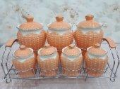 Porselen 7 Parça Çiçekli Baharat Takımı Standlı