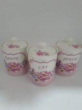 Porselen 3 Parça Çiçekli Baharat Takımı