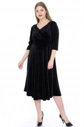 Büyük Beden Kadife Elbise KL8003ka -2