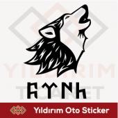 Göktürkçe Türk Sticker Kurt Oto Sticker