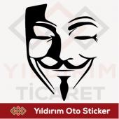 V For Vendetta Maske Sticker Oto Sticker Arma Stic...