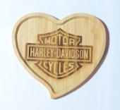 Harley Davidson Logolu Kalp Bambu Küçük Tabak-2