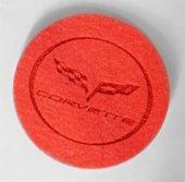 Corvette Logolu Kırmızı Keçe Bardak Altlığı