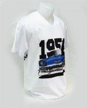 M T-Shirt V Yaka 1956 Chevrolet Belair Dijital Baskılı Beyaz -3