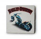 Harley Davidson Custom Baskılı Doğal Limra Taşı Bardak Altlığı