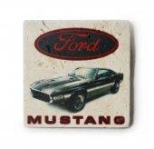 1969 Ford Mustang GT500 Baskılı Doğal Traverten Bardak Altlığı