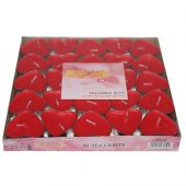 Tea Light Kalpli Mum 50 Adet Kalp Şeklinde Kırmızı Mum