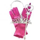 Pembe Disney Prensesler Taç Asa Eldiven Seti Prenses Kostüm Ürünü