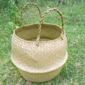 Hasır El Yapımı SAKSI SEPETİ Bitki Çantası Çamaşırlık-4