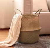 Hasır El Yapımı SAKSI SEPETİ Bitki Çantası Çamaşırlık-9