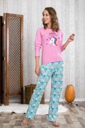 Lingabooms 1002 Kadın PijamaPamuklu Üst Pantolon 2li Tk-2