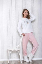 Lingabooms 1027 Kadın Pijama Pamuklu Bulut Nakışlı Takım-2