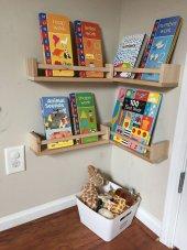 Ceebebek İkea Raf Kitaplık Duvar Rafı Dekor Ahşap Montessori Ürünleri Kitaplıkları