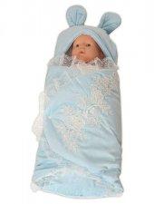 Mecit Peluş Dantelli Mavi Bebek Kundak 212