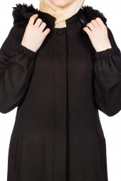 Kırçıl Kapşonlu Astarlı Kışlık Ferace Df 1075 01a Siyah
