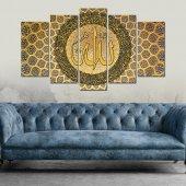 Allah Lafzı Dini Dekoratif 5 Parça Mdf Tablo