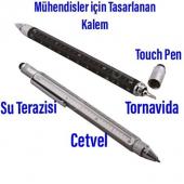 Mühendis Kalemi Cetvelli Tornavidalı Su terazili Tükenmez Kalem-3