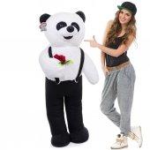 Peluş Ayı Elinde Çiçek Tutan Tulumlu Peluş Panda 110cm Yeni Ürün
