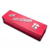 Kırmızı Dikdörtgen Seni Seviyorum Ahşap Kutu, Sevgiliye Hediye