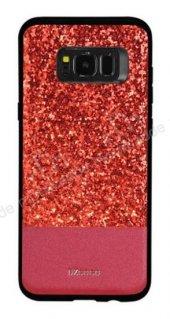 DZGOGO Samsung Galaxy S8 Işıltılı Kırmızı Deri Kılıf