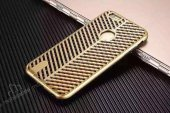 iPhone 7 Çift Katmanlı Delikli Gold Rubber Kılıf-2