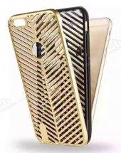 iPhone 7 Çift Katmanlı Delikli Gold Rubber Kılıf-3