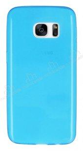 Samsung Galaxy S7 Ultra İnce Şeffaf Mavi Silikon Kılıf