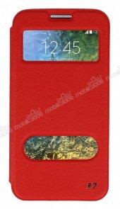 Slim Craft Samsung Galaxy E7 Pencereli Standlı Kırmızı Deri Kılıf