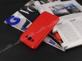 Slim Craft Samsung Galaxy E7 Pencereli Standlı Kırmızı Deri Kılıf-3